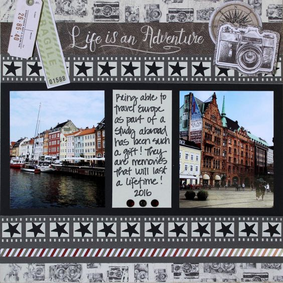 Creative Memories Uncharted Travel Layout #creativememories #scrapbooking #travel #bordermaker #unchartedpaperpack www.creativememories.com: