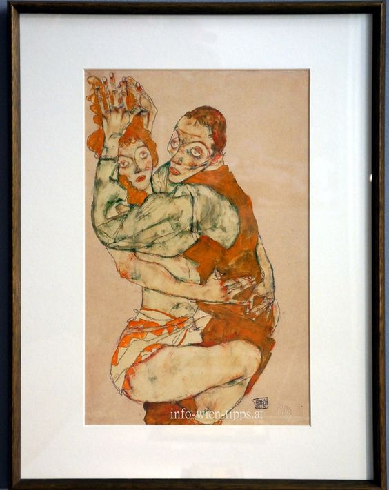Schiele Liebesakt, 1915, Öl auf Leinwand