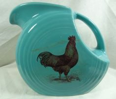 turqouise rooster pottery | Rooster, Heaven!! Fiesta Large Turquoise Disc Pitcher Colorful Rooster ...
