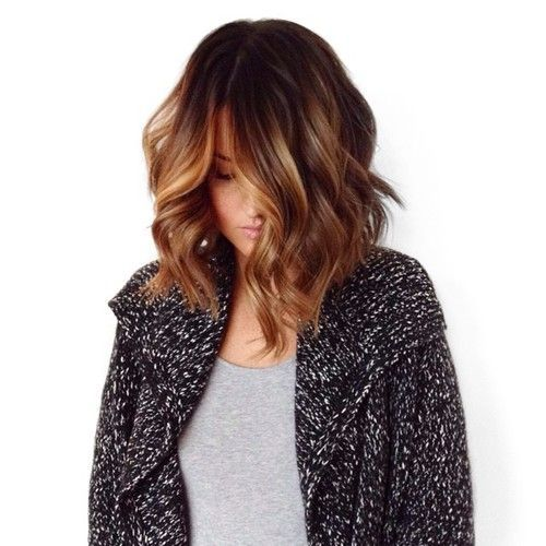 Chocolate brown with caramel balayage ombre lob pinterest bobs spring and balayage - Ombre et hair ...