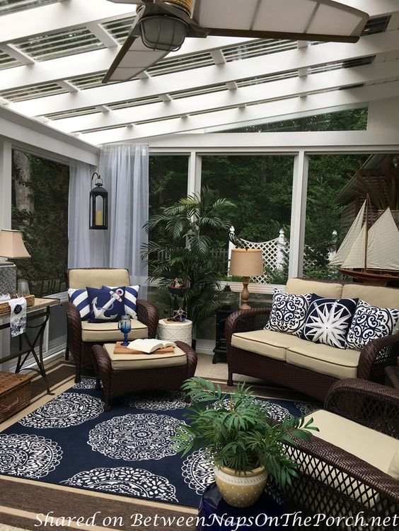 3 Season Porch, Blue & White Nautical Decor featured on Between Naps on the Porch.