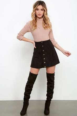 Suede My Day Black Suede Skirt | Thigh highs, Skirts and Boots