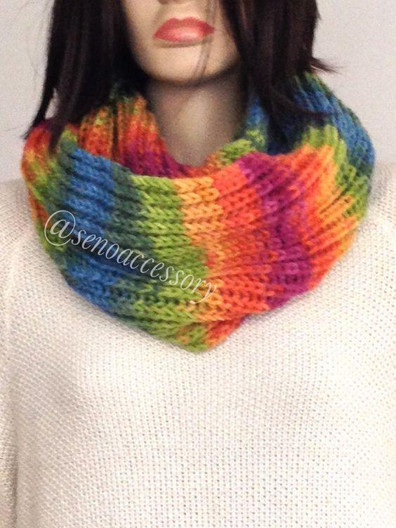 Rainbow Knit Infinity Scarf ,Chunky Knit Infinity Scarf ,Knit Scarves ,Knit Infinity Scarves ,Winter Scarves ,  Christmas Gift senoaccessory