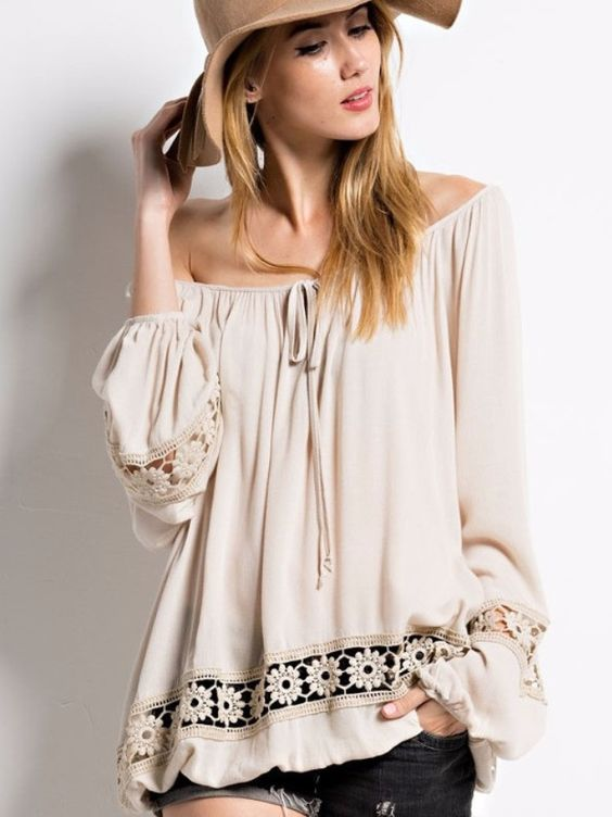 Gypsy Boho Blouse -A vintage spin on a wardrobe fave, this gorgeous luxe-lace blouse can be paired with absolutely anything. The gently crinkled viscose is soft and light but perfect for the cooler mo: