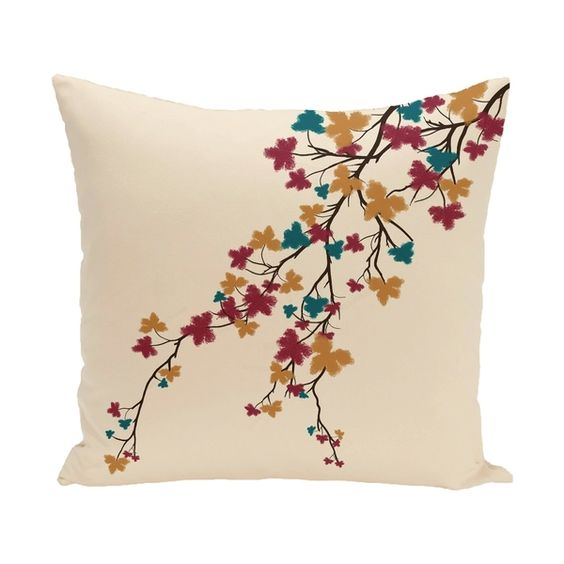 Overstock.com 18 x 18-inch Maple Hues Floral Print Pillow