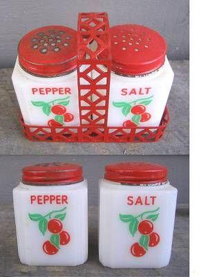 Vintage milk glass CHERRY salt and pepper set with rack