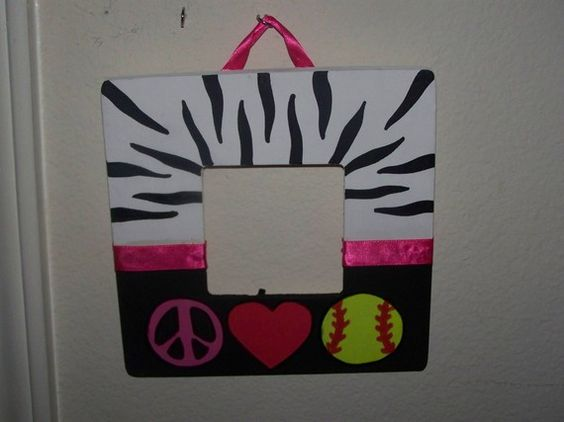 Zebra print PeaceLove Softball by 1craftymamaboutique on Etsy, $8.00