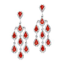Red Rhinestone Chandelier Earrings // by #Mariell // #jewelry #wedding #bridesmaid #prom #fashion