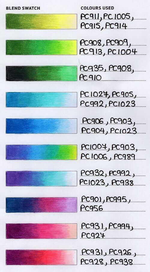 Printable Colour Combination Tracker Blending Colored Pencils