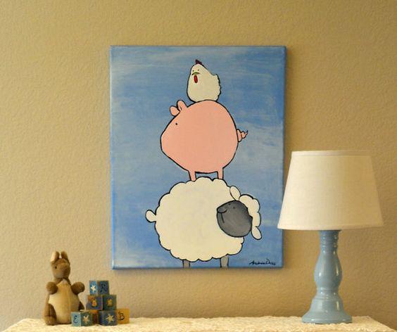 Clearance Wall Art clearance - farm animals painting, kids wall art, barnyard pig