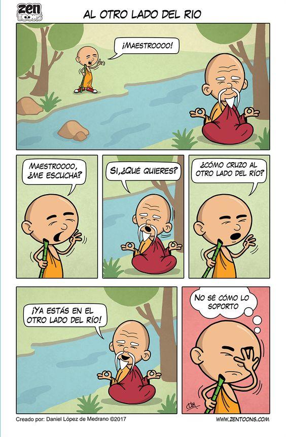 ZEN TOONS 004: Al Otro Lado del Rio. Historieta creada por: Daniel Lopez de Medrano. Episodio basado en un cuento Zen Tradicional. #zentoons #webcomics #zencomics #cuentoszen #historiaszen #zenpencil #espiritualidad #zen #budismo