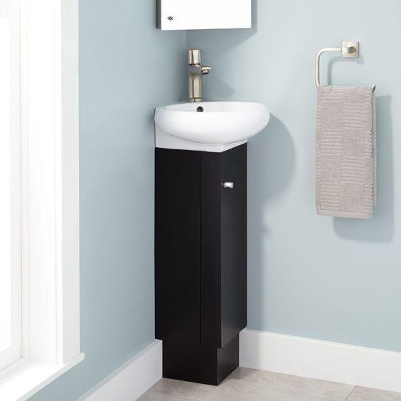 "15"" Mariella Corner Black Vanity - Porcelain Sink"