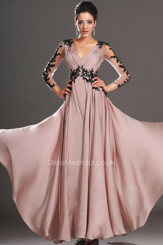 embroidered sheer long sleeve a-line plunging v-neck empire prom dress with black applique