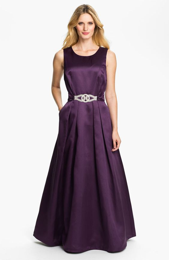 Long Purple A-Line Evening Dress