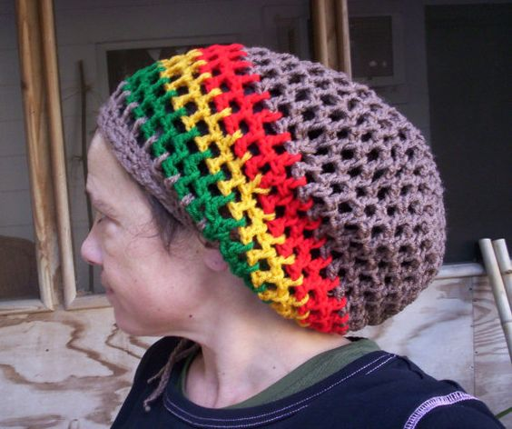 MOCHA RASTA TAM Handmade SLouchy Crochet Hat Men Women ...