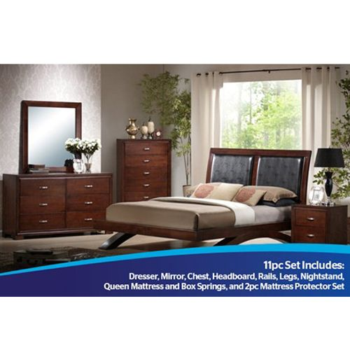 Elements International Raven 11-Piece Bedroom Group With