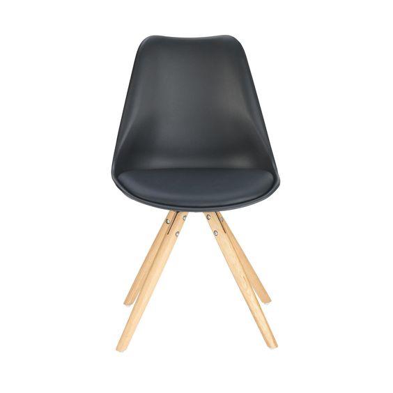 STUHL in Holz, Kunststoff, Metall, Textil Eichefarben, Schwarz