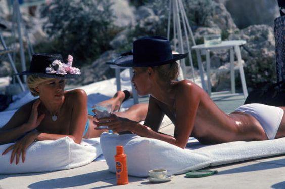 Dani Geneux and Marie Eugenie Gaudfrin sunbathing