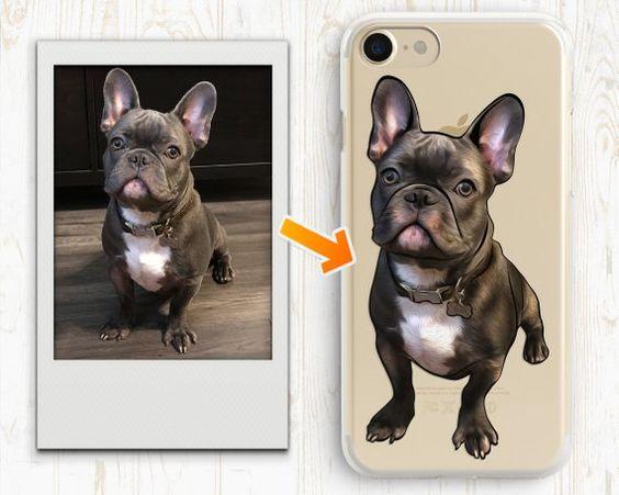 Personalized Illustrated Dog Custom Dog Case French Bulldog Gifts