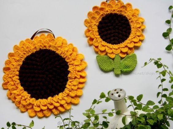 topflappen h keln diy sonnenblumen deko anleitungen pinterest selber machen. Black Bedroom Furniture Sets. Home Design Ideas