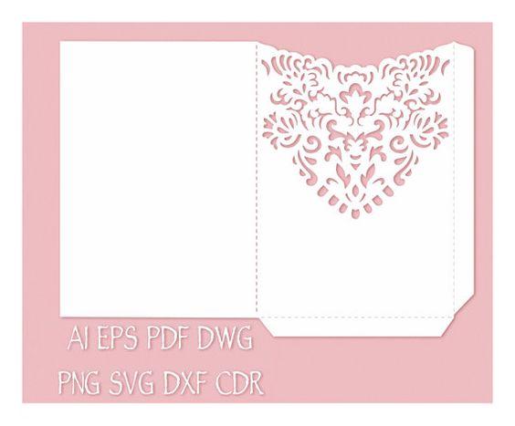 Wedding Invitation Pocket Envelope 5x7 Template, cutting file ...