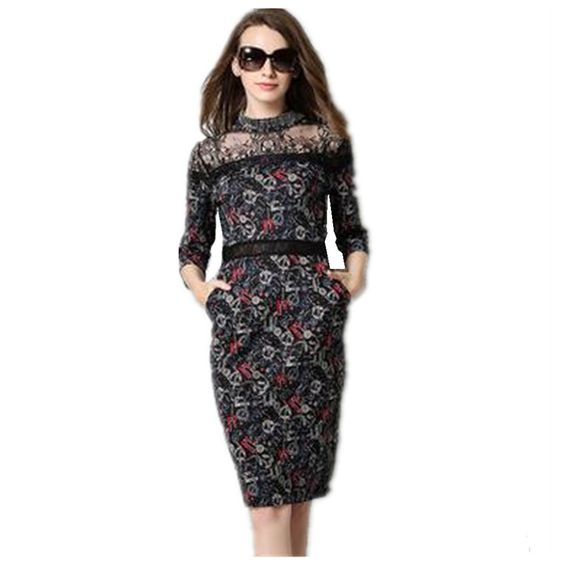 PreetyBeauty Vintage Printed Lace Dress Women 2016 Autumn Fashion Temperament Clothing Slim Fit Stitching Hollow Out Dresses