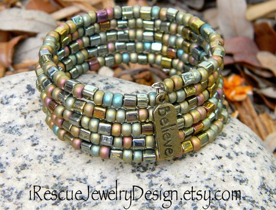 Memory wire 5 layers of beautiful matte by iRescueJewelryDesign