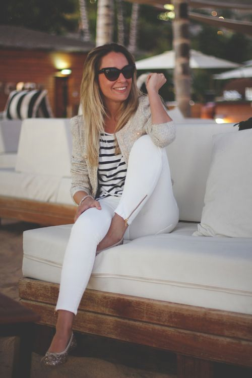 white pants + striped shirt: