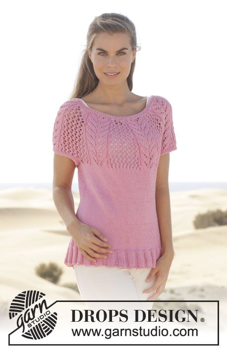 """Knitted DROPS top with round yoke and lace pattern in """"Paris"""". Size: S - XXXL. ~ DROPS Design:"""