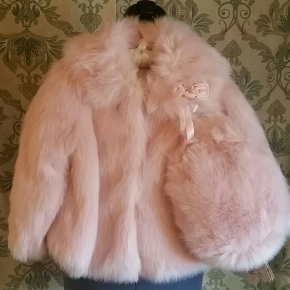 Kate Mack Child's Faux Fur Coat with hat Brand new coat with hat. Has retail tags but no price Jackets & Coats
