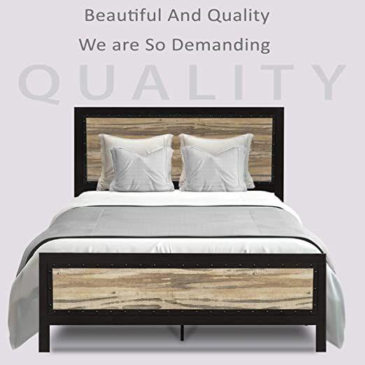 Allewie Queen Size Bed Frame With Headboard Platform Metal Bed Frame Mattress Foundation Head Bed Frame And Headboard Queen Size Bed Frames Full Size Bed Frame Queen size bed and frame