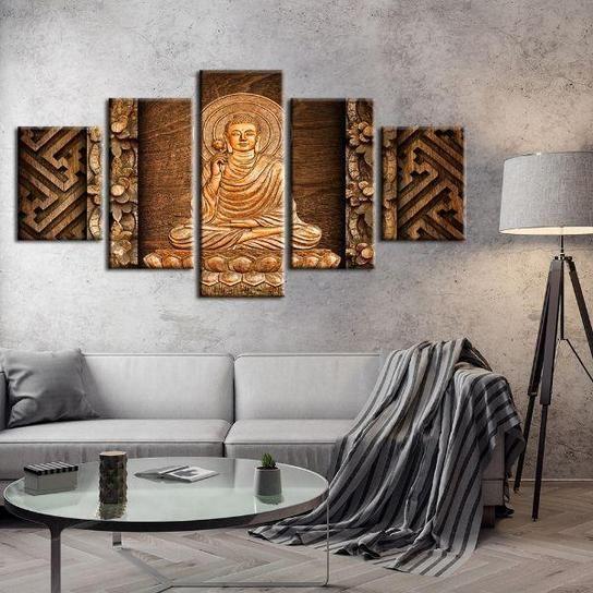 Buddha With Halo 5 Panels Canvas Art Canvas Wall Art Set Unique Wall Decor Canvas Wall Decor