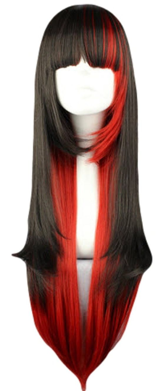 SMILE Charming 70cm Long Straight Black Mixed Red Synthetic Hair Cosplay Wig
