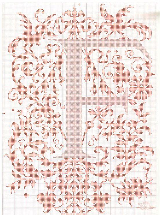"cross stitch alphabet in 2 colors- very ornate monogram 26 single letters -- ""F'"" #6"