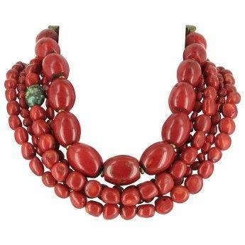 Collar Fiesta Rojo  http://www.tutunca.es/collar-gargantilla-abalorios-coral-lhassa-5-filas