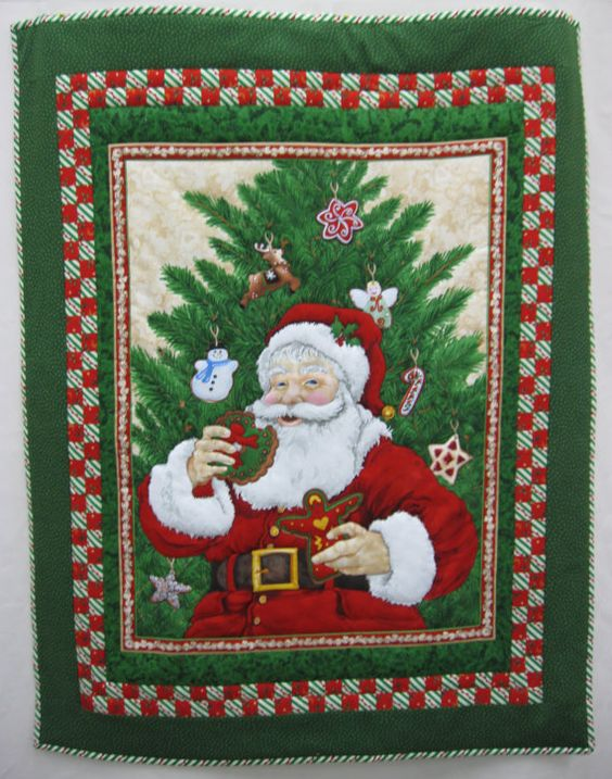 Vintage Santa Wall hanging by GailsStitches on Etsy
