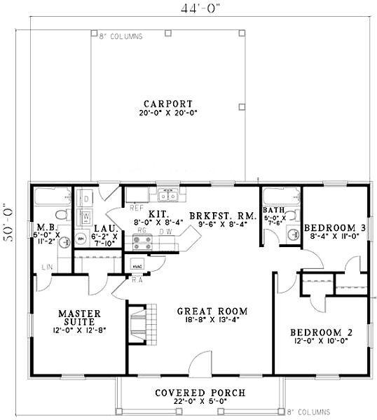 plano casa de 100m2 con garaje abierto proyectos