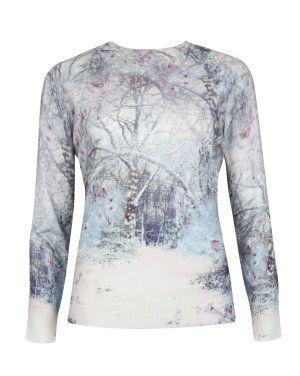 Snow blossom printed sweater