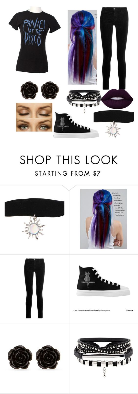 """""""Panic At The Disco Concert"""" by kirstenmkelly ❤ liked on Polyvore featuring Manic Panic NYC, J Brand, Erica Lyons and Lime Crime"""