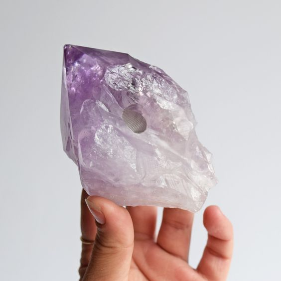 Misty Mountain Amethyst Crystal Point Pipe | Crystals & Minerals | NaturalMagics