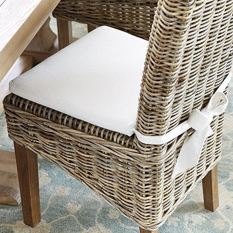 Dining Room Chair Cushions With Ties, Wicker Dining Room Chair Cushions