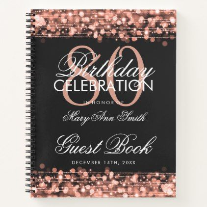 80th Birthday Guestbook Party Sparkles Rose Gold Notebook Zazzle Com Guestbook Birthday Rose Gold Notebook 40th Birthday Invitations
