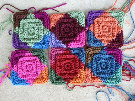 multicolor textured crochet squares, crochetbug, crochet quilt, crochet motifs