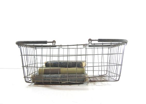 Vintage Metal Wire Basket, Metal Shopping Basket by GrayGardenDecor