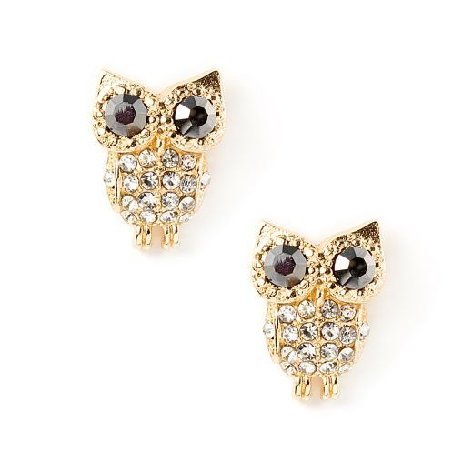 Crystal Owl Stud Earrings | Icing