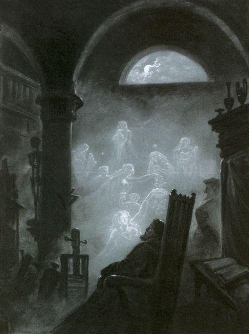 "Carl Gustav Carus (1789–1869), ""Fausts Traum/Faust's Dream"" (1852) Charcoal and white, 59.5 x 43 cm Dresden, Kupferstich-Kabinett (Staatliche Kunstsammlungen Dresden)"