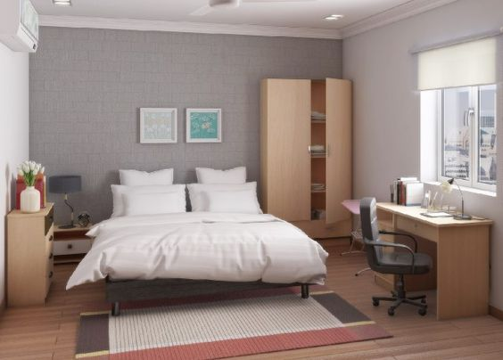 Discover the Lorraine bedroom, a practical room with a nice working space - starting at 17€/month!