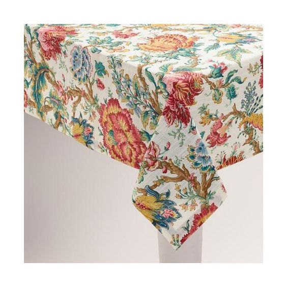 Cost Plus World Market Floral Polina Tablecloth (2365 RSD) ❤ liked on Polyvore featuring home, kitchen & dining, table linens, red tablecloth, blue tablecloth, cost plus world market, flower stem and red table cloth