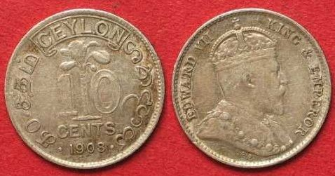 1903 Ceylon CEYLON 10 Cents 1903 EDWARD VII. Silber ERHALTUNG! # 91760 vz