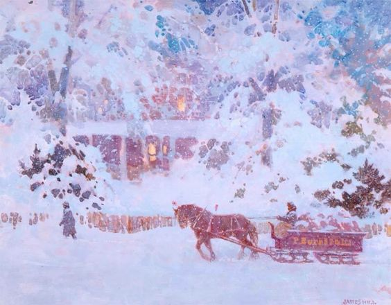 Winter Sleigh Ride by James Hill. Oil on board
